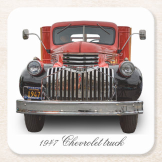 1947 CHEVROLET STAKE TRUCK SQUARE PAPER COASTER