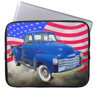 1947 Chevrolet Thriftmaster Pickup With US Flag Computer Sleeve
