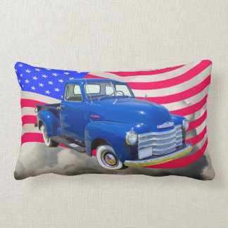 1947 Chevrolet Thriftmaster Pickup With US Flag Lumbar Pillow