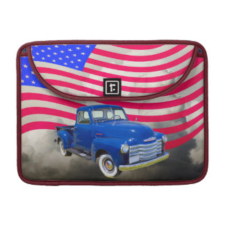 1947 Chevrolet Thriftmaster Pickup With US Flag Sleeve For MacBook Pro