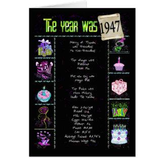 1947 curiosidades de la diversión del cumpleaños tarjeta de felicitación