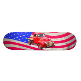 1947 Ford Flat Bed Truck And American Flag Skate Deck