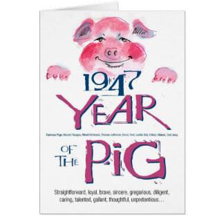 1947 Fun Facts Pig Funny Birthday Card