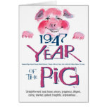 1947 Fun Facts Pig Funny Birthday Greeting Card