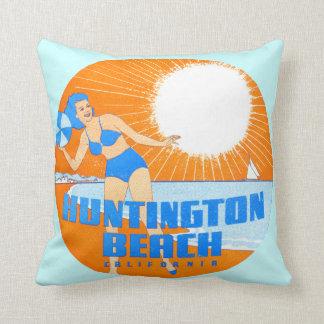 1947 Huntington Beach California Throw Pillow