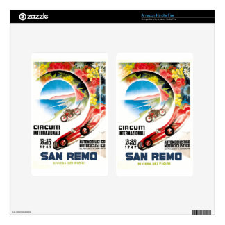 1947 San Remo Grand Prix Race Poster Skins For Kindle Fire