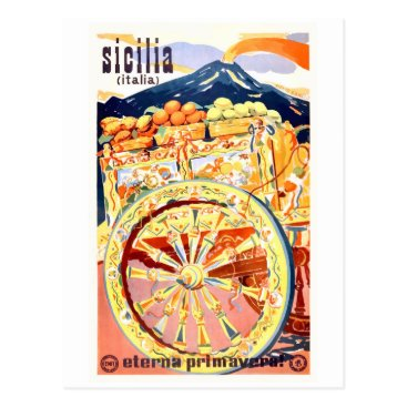 Retrographica 1947 Sicily Italy Travel Poster Eternal Spring Postcard