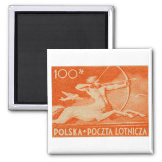1948 100 zt Polish Airmail Stamp 2 Inch Square Magnet