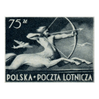 1948 75 zt Polish Airmail Stamp Poster