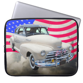 1948 Chevrolet Fleetmaster And American Flag Computer Sleeve