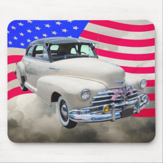 1948 Chevrolet Fleetmaster And American Flag Mousepads