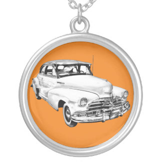 1948 Chevrolet Fleetmaster Car Illustration Silver Plated Necklace