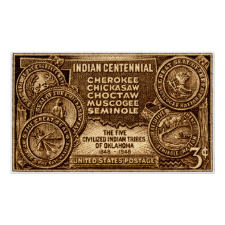1948 Oklahoma Indian Centennial Stamp Posters