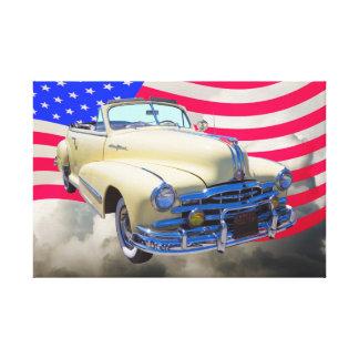 1948 Pontiac Silver Streak And United States Flag Canvas Print