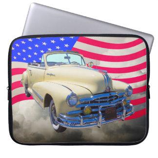 1948 Pontiac Silver Streak And United States Flag Laptop Sleeve