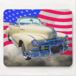 1948 Pontiac Silver Streak And United States Flag Mouse Pads