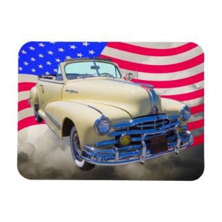 1948 Pontiac Silver Streak And United States Flag Flexible Magnet