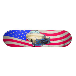 1948 Pontiac Silver Streak And United States Flag Skateboard Deck