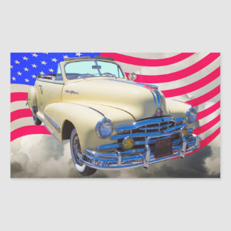 1948 Pontiac Silver Streak And United States Flag Sticker