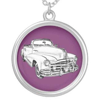 1948 Pontiac Silver Streak Car Illustration Silver Plated Necklace
