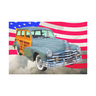 1948 Pontiac Silver Streak Woody And US Flag Canvas Print