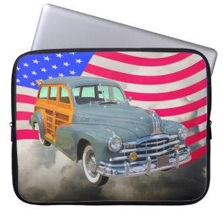 1948 Pontiac Silver Streak Woody And US Flag Computer Sleeve
