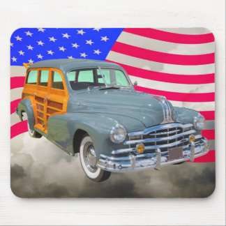1948 Pontiac Silver Streak Woody And US Flag Mouse Pad
