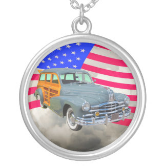 1948 Pontiac Silver Streak Woody And US Flag Silver Plated Necklace