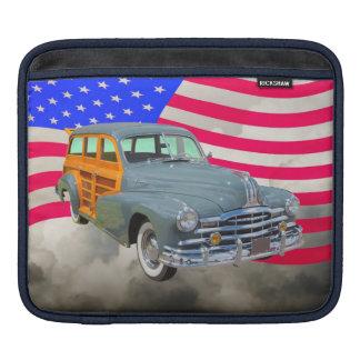 1948 Pontiac Silver Streak Woody And US Flag Sleeve For iPads