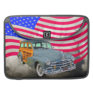 1948 Pontiac Silver Streak Woody And US Flag Sleeve For MacBook Pro