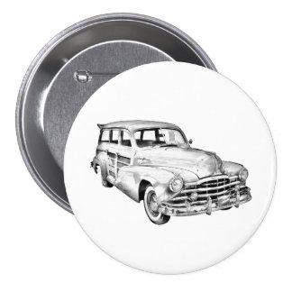 1948 Pontiac Silver Streak Woody Illustration Button