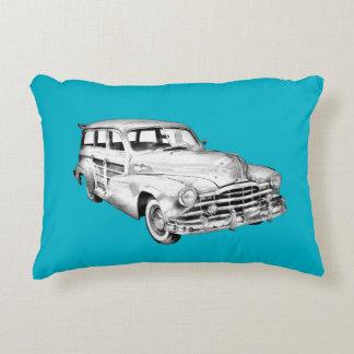 1948 Pontiac Silver Streak Woody Illustration Accent Pillow