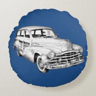 1948 Pontiac Silver Streak Woody Illustration Round Pillow