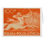 1948 sello polaco del correo aéreo de 100 zt tarjeta de felicitación