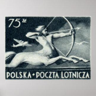 1948 sello polaco del correo aéreo de 75 zt impresiones