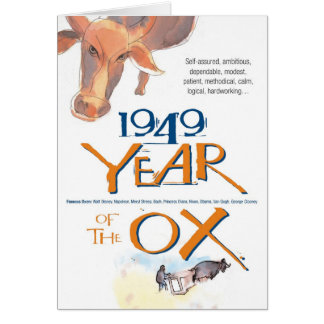 1949 Chinese Zodiac Ox Funny Birthday Card