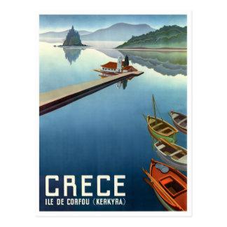 1949 Corfu Greece Travel Poster Postcard