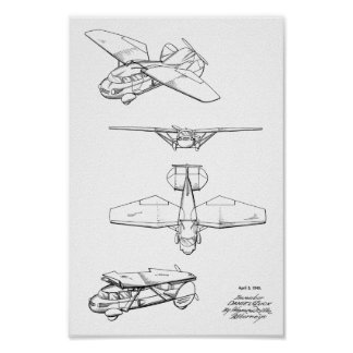 1949 Flying Car Airplane Patent Art Drawing Print