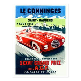 1949 French Grand Prix Racing Poster Postcard