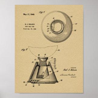 1949 Golf Ball Tee Patent Art Drawing Print
