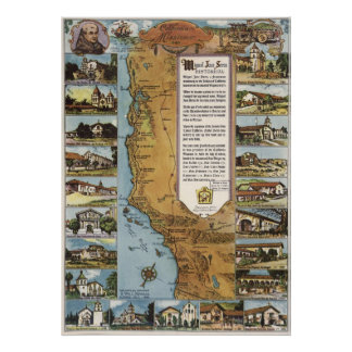 1949 Map of California's Missions Poster