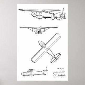 1949 Rear Prop Airplane Patent Art Drawing Print