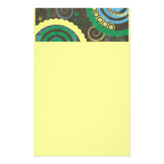 194__retro-circles-paper-pattern YELLOW BROWN BLUE Stationery