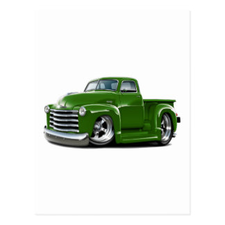 1950-52 Chevy Green Truck Postcard