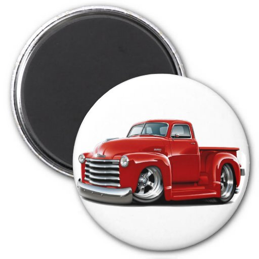 1950-52 Chevy Red Truck 2 Inch Round Magnet