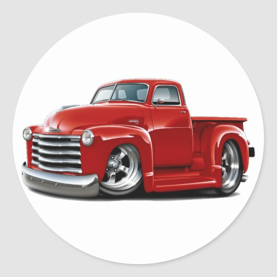 1950-52 Chevy Red Truck Classic Round Sticker