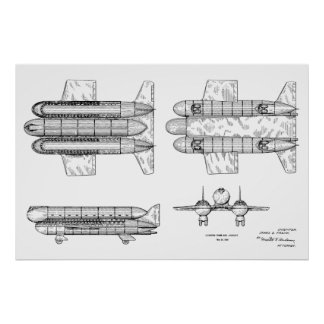 1950 Airship Airplane Patent Art Drawing Print