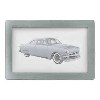 1950 Blue Ford Coupe Rectangular Belt Buckles