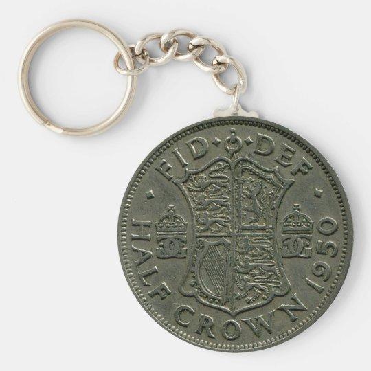1950 British Half Crown keychain