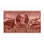1950 Casey Jones Railroad Stamp Postcard